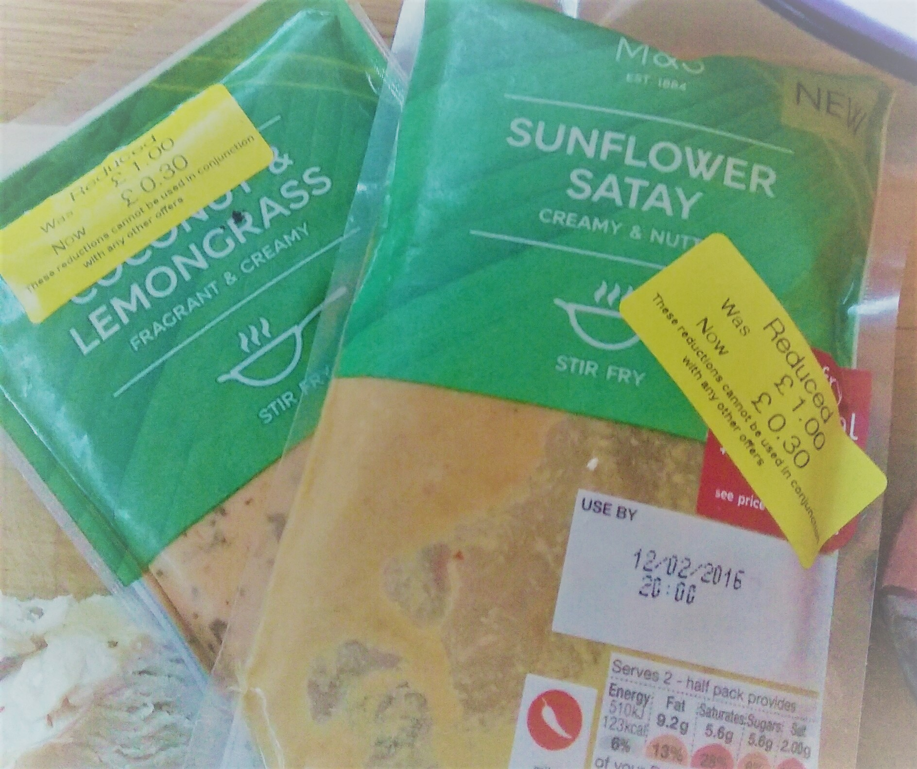 sunflower satay with yellow reduced stickers on