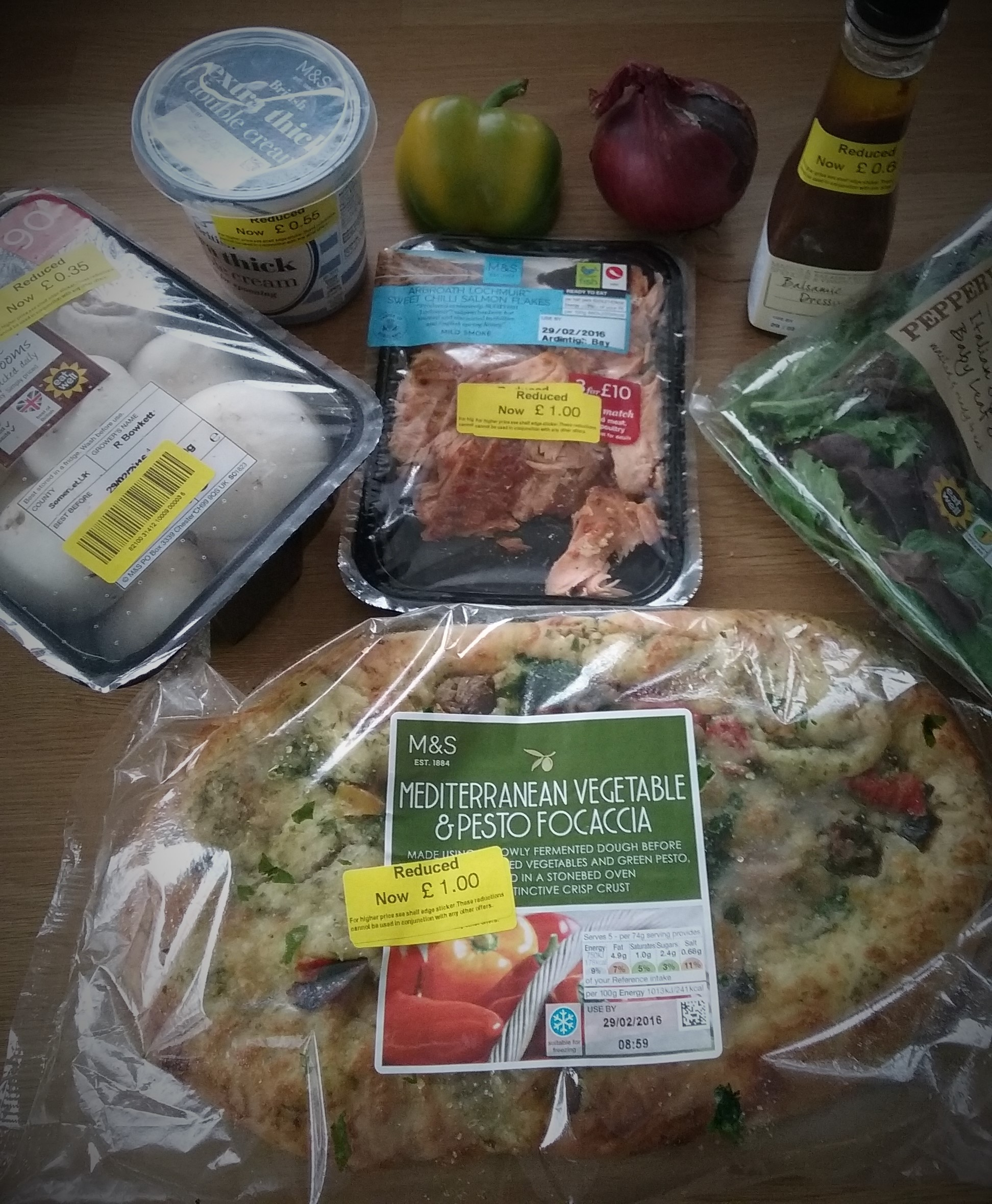 variety of marks and Spencer food with yellow stickers
