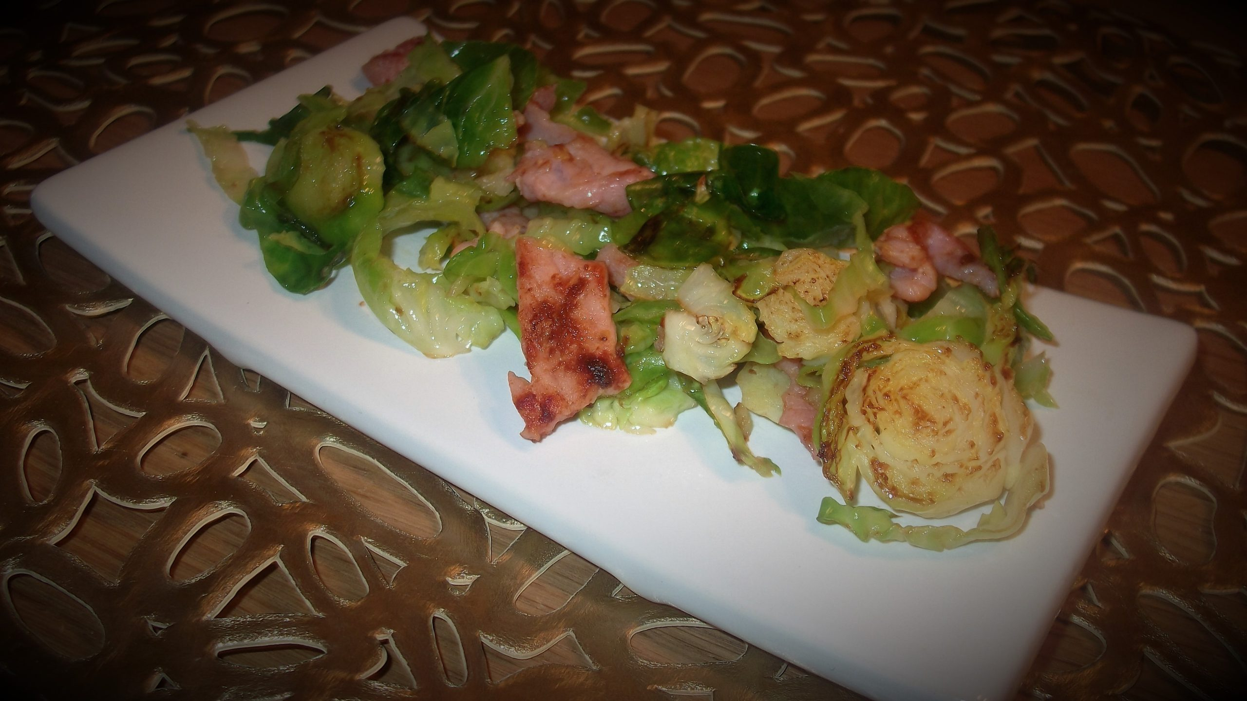 Pan fried sprouts with bacon