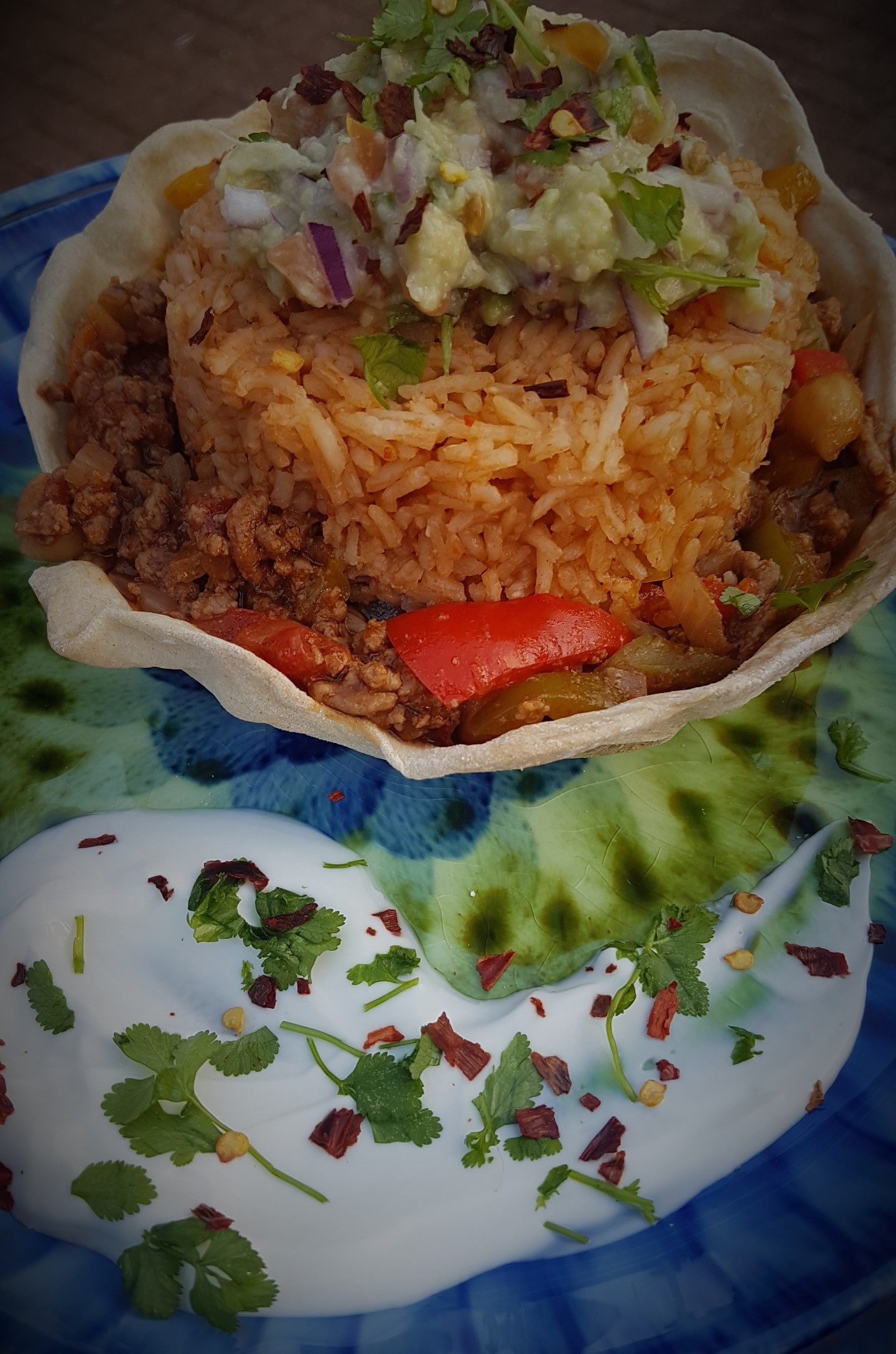 tortilla basket chilli and Mexican rice