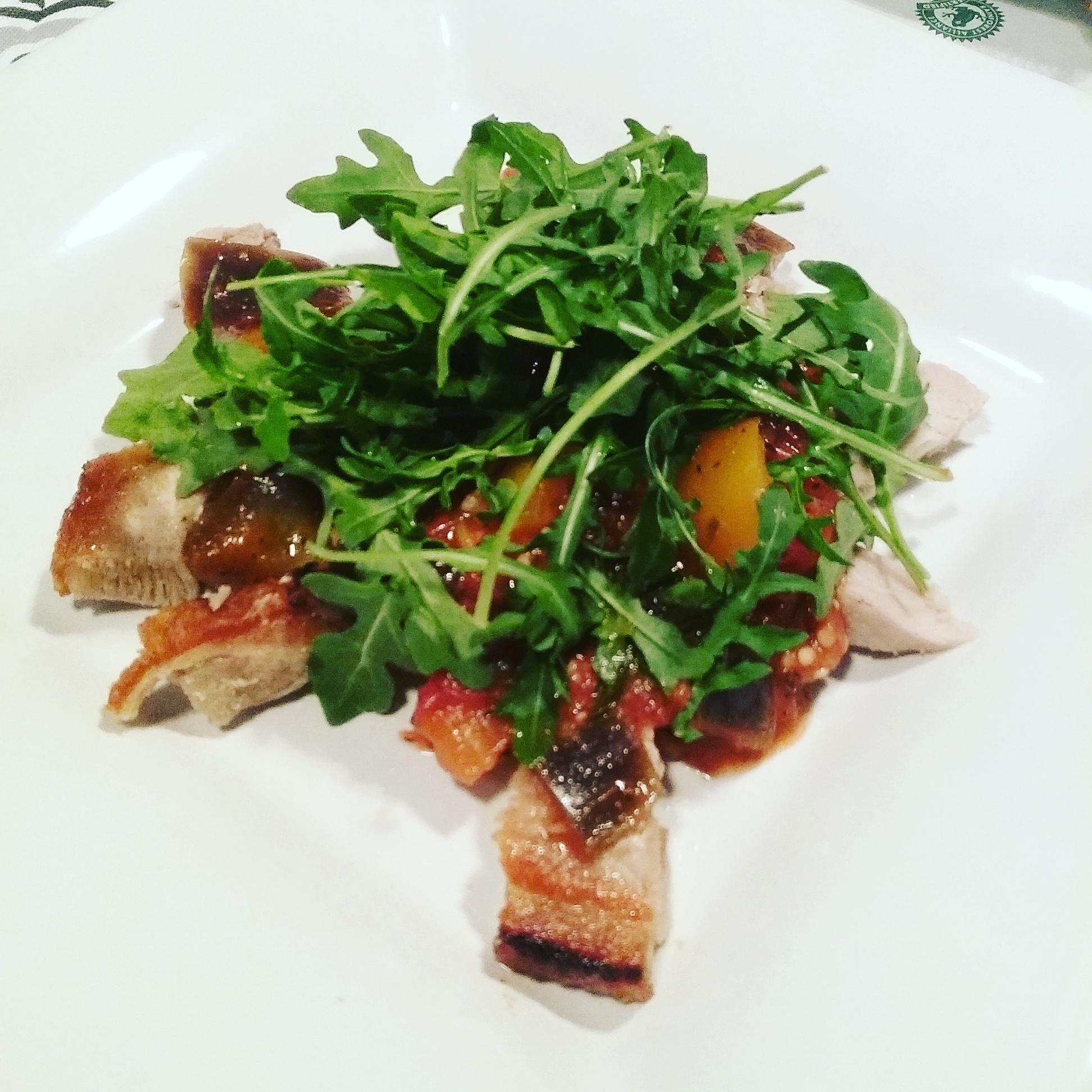 crisped pork ratatouille