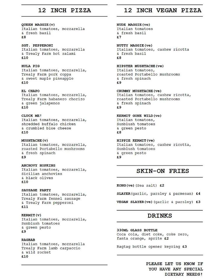 menu ragtag